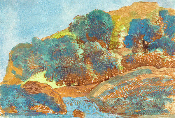 Painting -  Hilly Landscape With A Stream by Franz Innocenz Josef Kobell