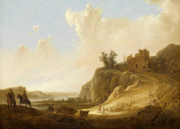 Cuyp Wall Art - Painting - Hilly Landscape With The Ruins Of A Castle by Aelbert Cuyp