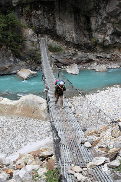 Photograph - Himalayan Steel Bridge, Nepal by Aidan Moran