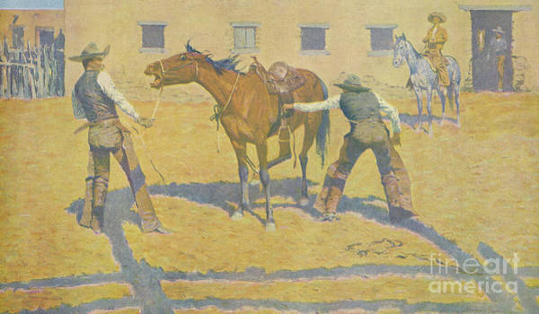 Reins Painting - His First Lesson by Frederic Remington