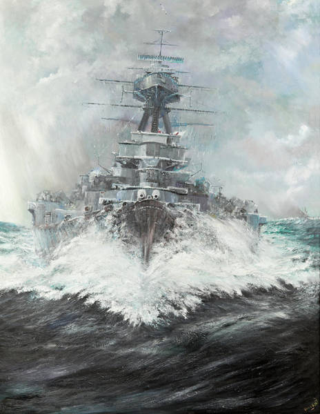 Cruiser Painting - Hms Hood by Vincent Alexander Booth