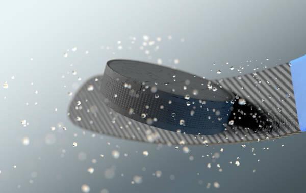 Fragment Digital Art - Hockey Puck Striking Stick In Slow Motion by Allan Swart