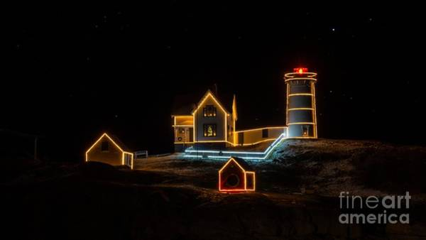 Photograph - Holiday Lights At Cape Neddick/nubble Light. by New England Photography