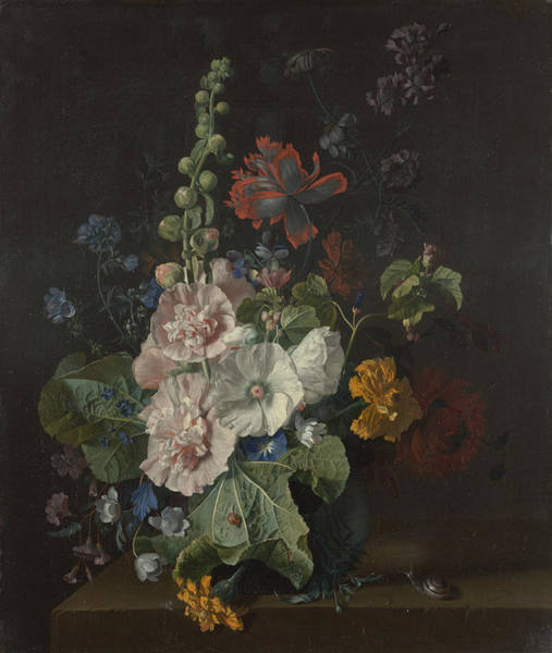 Painting - Hollyhocks And Other Flowers In A Vase by Celestial Images