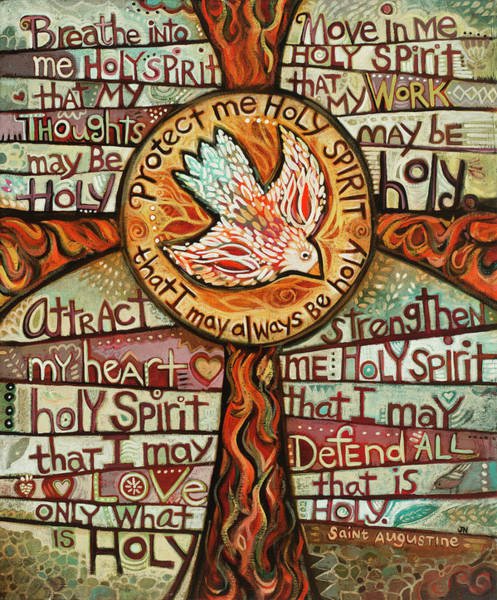 Holy Wall Art - Painting - Holy Spirit Prayer By St. Augustine by Jen Norton