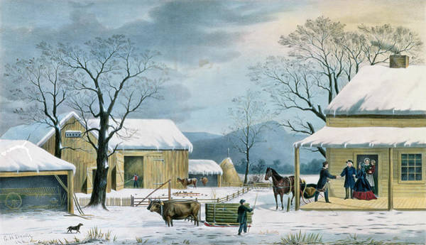 Barn Snow Painting - Home To Thanksgiving by Currier and Ives