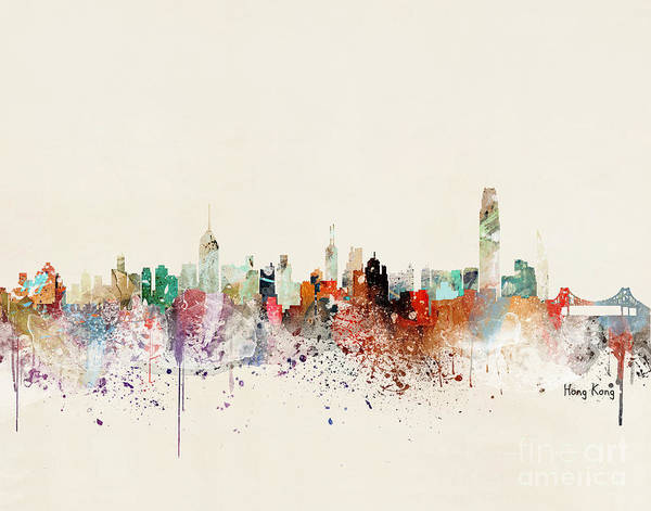Chinese Painting - Hong Kong Skyline by Bri Buckley