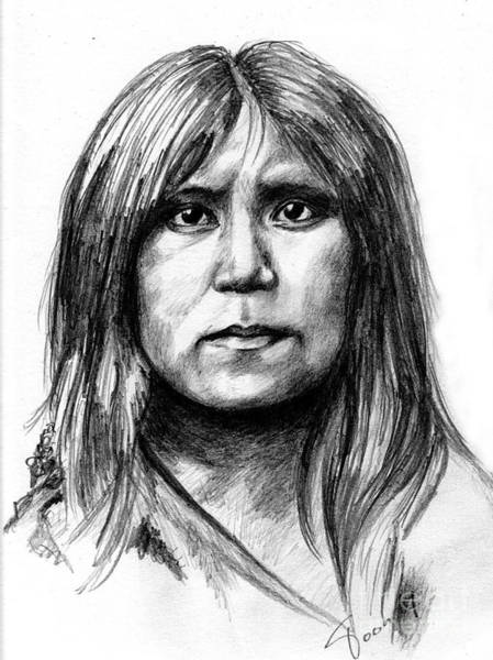 Drawing - Hopi Girl by Toon De Zwart