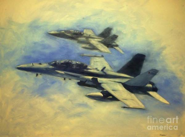 A-18 Hornet Wall Art - Painting - Hornets by Stephen Roberson