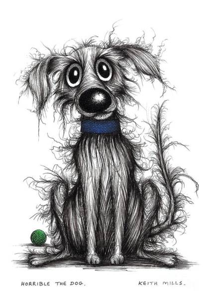 Mutt Drawing - Horrible The Dog by Keith Mills