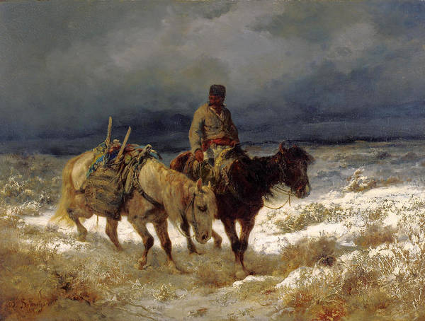 Wall Art - Painting - Horseman On The Russian Steppe by Adolf Schreyer