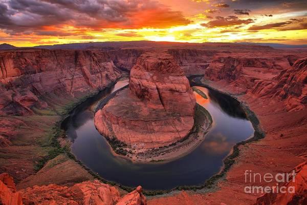 Photograph - Horseshoe Bend Fiery Sunset by Adam Jewell