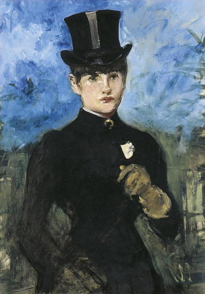 Jogging Painting - Horsewoman, Fullface by edouard Manet