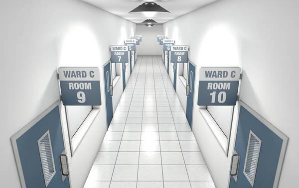 Doorway Digital Art - Hospital Hallway by Allan Swart