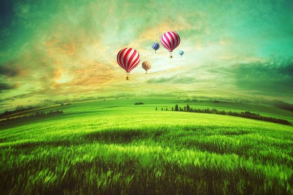 Sports Digital Art - Hot Air Balloon by Super Lovely