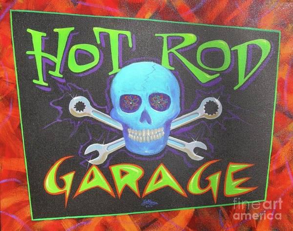 Painting - Hot Rod Garage by Alan Johnson