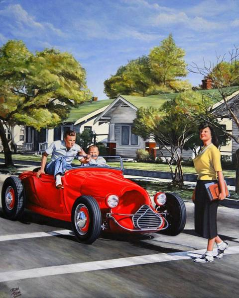 Roadster Wall Art - Painting - Hot Rod Magazine Cover by Ruben Duran