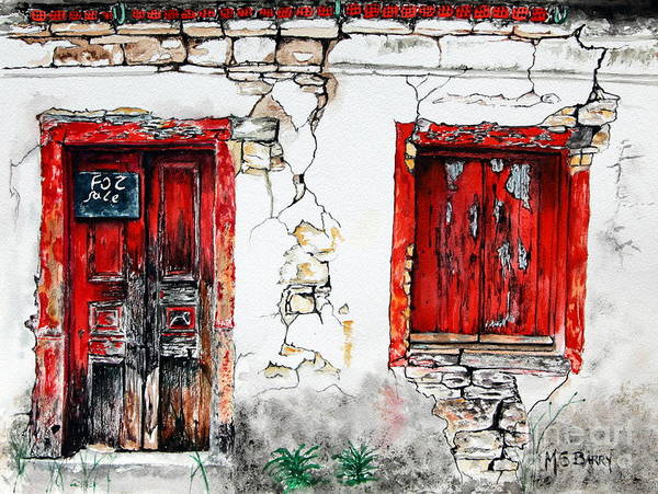 Painting - House For Sale by Maria Barry