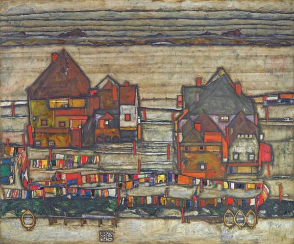 Painting - Houses With Laundry  by Egon Schiele