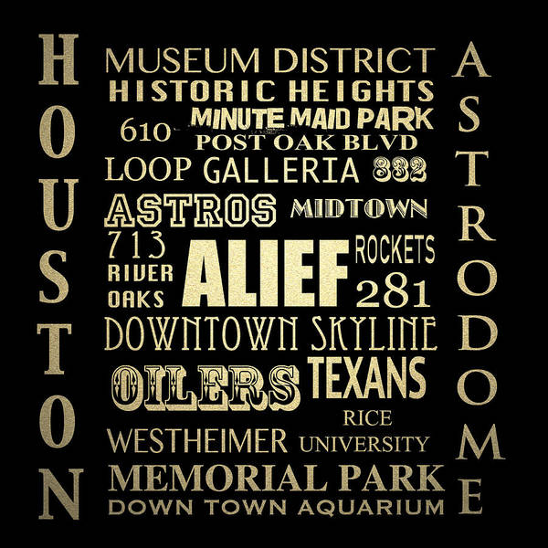 Wall Art - Digital Art - Houston Famous Landmarks by Patricia Lintner