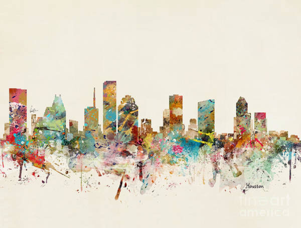 Houston Wall Art - Painting - Houston Texas Skyline by Bri Buckley