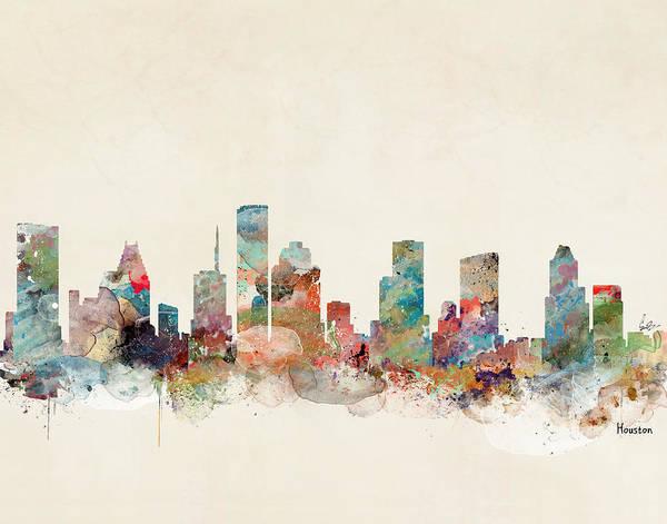 Wall Art - Painting - Houston Texas Skyline  by Bri Buckley