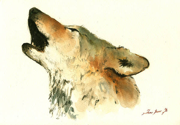 Wolf Painting - Howling Wolf by Juan  Bosco