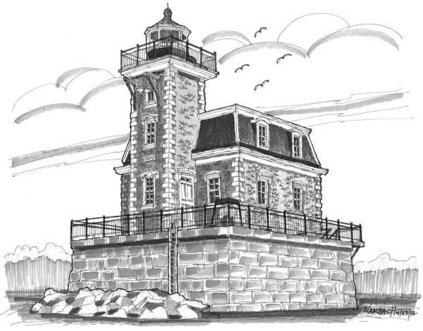 Drawing - Hudson-athens Lighthouse by Richard Wambach