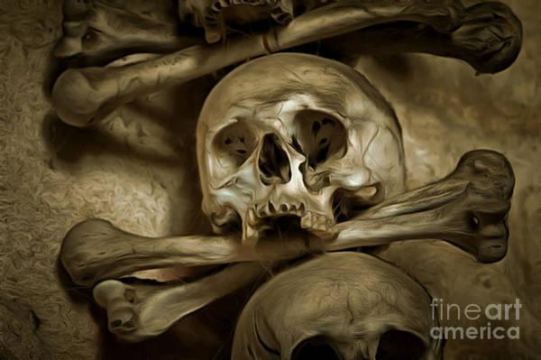 Wall Art - Mixed Media - Human Skull And Bones by Michal Boubin