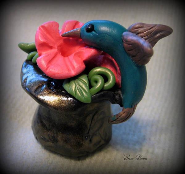 Polymer Clay Photograph - Humming Bird And Flower by Trina Prenzi