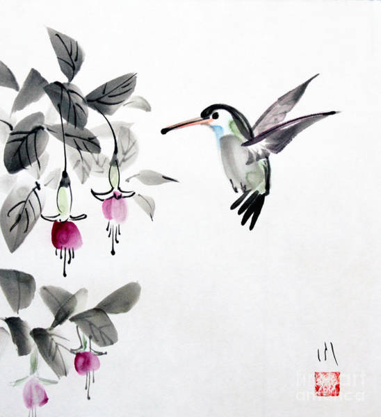 Painting - Humming Bird by Fumiyo Yoshikawa