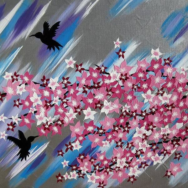Framing Painting - Humming Birds And Sakura by Cathy Jacobs