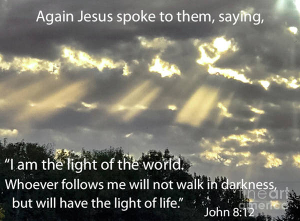 Scripture Photograph - I Am The Light  by Robert Bales