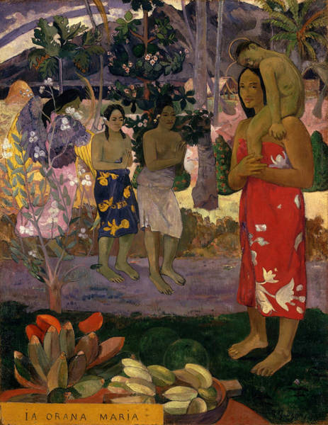 Polynesia Wall Art - Painting - Ia Orana Maria Hail Mary by Paul Gauguin