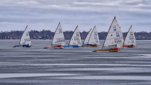 Lake Monona Photograph - ice sailing - Madison - Wisconsin by Steven Ralser