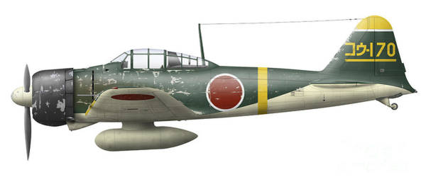 Cutout Digital Art - Illustration Of A Mitsubishi A6m2 Zero by Inkworm