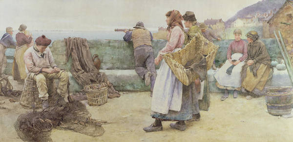 Newlyn Painting - In A Cornish Fishing Village by Walter Langley