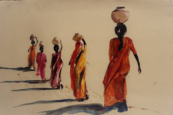 Nomad Mixed Media - In Search Of Water. by Khalid Saeed