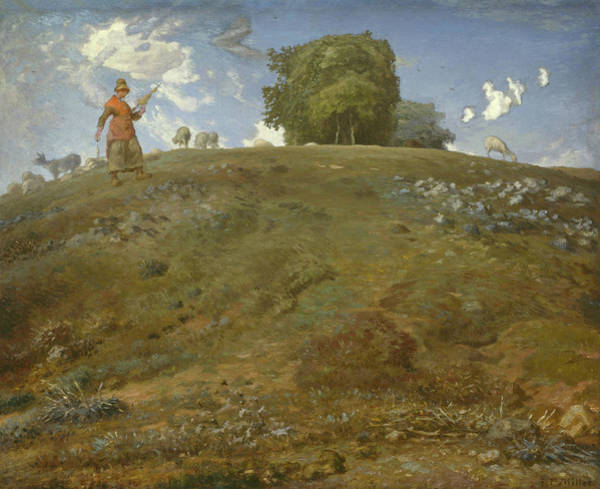 The Shepherdess Wall Art - Painting - In The Auvergne by Jean Francois Millet