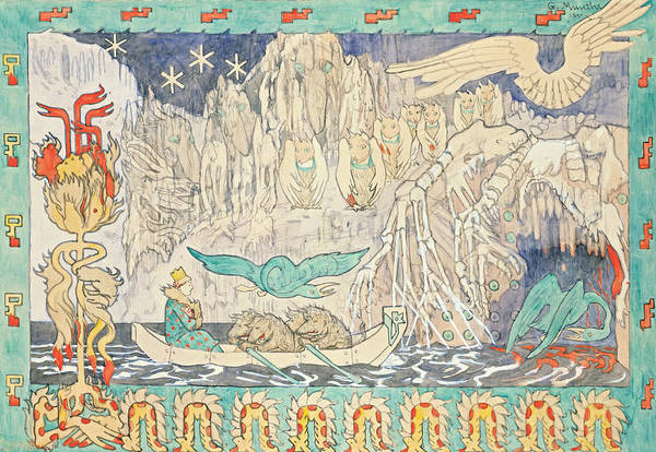 Drawing - In The Giant's Lair by Gerhard Munthe