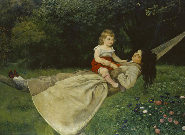 Wall Art - Painting - In The Hammock by Hans Thoma
