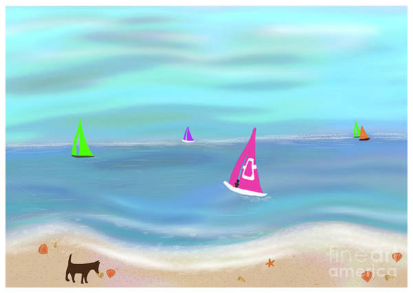 Painting - In The Pink - Sailing In Tropical Waters by Barefoot Bodeez Art