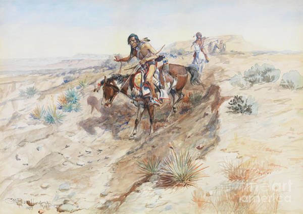 Territory Painting - Indian Braves by Charles Marion Russell