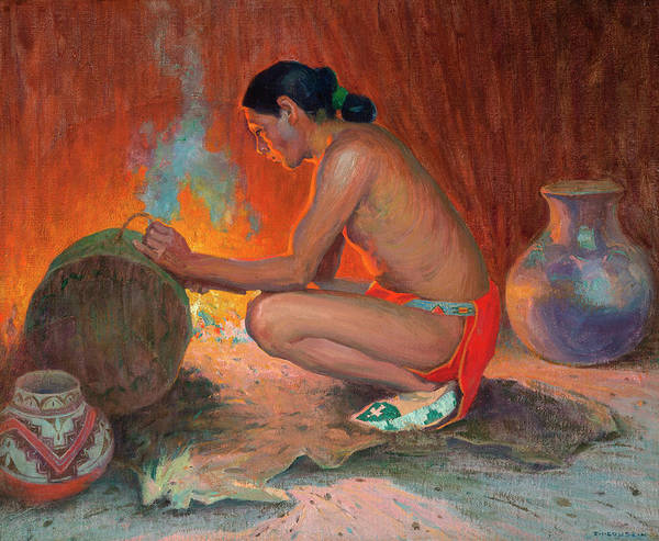 Pueblo Painting - Indian By Firelight by Eanger Irving Couse