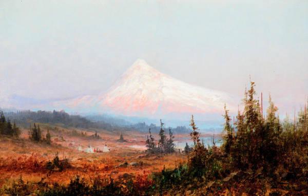 Encampment Wall Art - Painting - Indian Encampment At Mt. Hood by John Fery