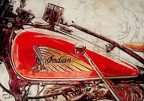 Parallels Wall Art - Digital Art - Indian Motorcycle by Yurdaer Bes