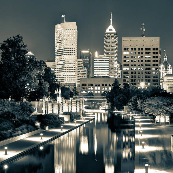 Photograph - Indianapolis Indiana Skyline And Canal Walk At Night 1x1 by Gregory Ballos