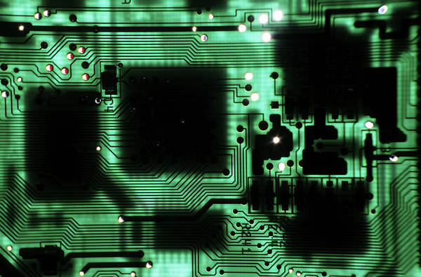 Wall Art - Photograph - Integrated Circuit Board From A Computer by Sami Sarkis