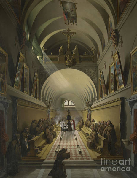 Wall Art - Painting - Interior Of A Capuchin Convent by Francois-Marius Granet