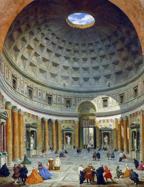 Painting - Interior Of The Pantheon by Giovanni Paolo Panini